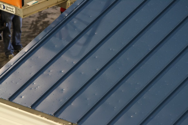 hailstone dents present on standing seam metal roofs