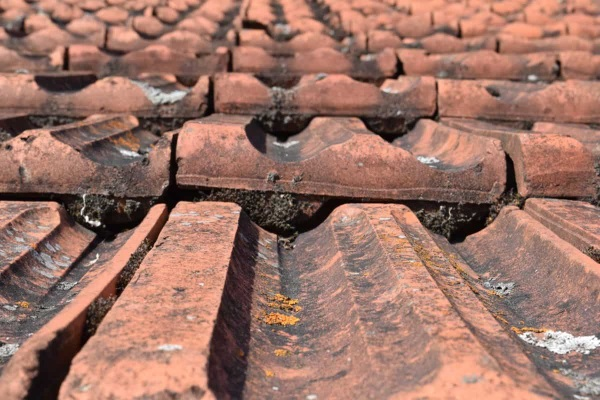 interlocking tile roofs installed on top of each other